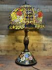 Huge 33 Tall Rose Flower Jeweled Stained Glass Table Desk Lamp Base Light