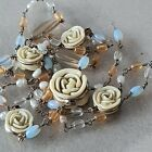 Vintage Mix Bead Necklace Carved Celluloid In Floral Style
