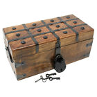 Nautical Cove Treasure Chest Wooden Box with Antique Iron Lock and Skeleton Key