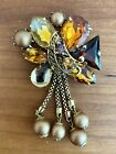 Vintage West Germany Victorian Revival Brooch Pin Amber Peking Glass Pearls Gold