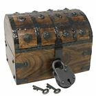 Nautical Cove Pirate Treasure Chest with Iron Lock and Skeleton Key Wooden Sto