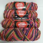 Red Heart Super Saver variegated Yarn 4 skeins Butterfly Papillon Mariposa Rare
