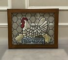 Handcrafted stained Glass panel with solid wood frame 145 x 185 FRESH EGGS
