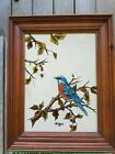 Vintage Reverse Glass Robin Bird Painting Framed Hand Painted Picture Signed