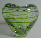Art Glass Hand Blown Heart Shaped w Green Stripes Pinched Top Bowl Vase