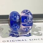 Trollbeads Silver Murano Glass Bead OOAK unique Blue white Flowers RIGHT