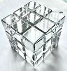 Vintage 80s Glass Rubiks Cube Art Clear Paperweight Puzzle Gamer Desk Office NM