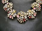 Fabulous Retro Vintage Style Pink Yellow Clear Rhinestone  Glass Necklace