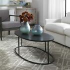 COREENE INDUSTRIAL INSPIRED 48 OVAL COFFEE TABLE ALUMINUM SLAB TOP UTTERMOST