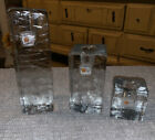 Blenko Glass ICE CUBE Candle Holders Set Of 3 Clear Square 6 4 2 W Stickers