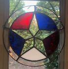 Stained Glass Bevel Red White Blue Star Suncatcher American Patriotism USA