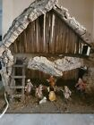 VINTAGE NATIVITY SET  LIGHTED CRECHE MADE IN ITALY FIGURES ATTACHED 19 x 16
