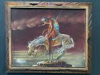 Vintage End Of The Trail Native American Warrior Velvet Painting Framed Mexico