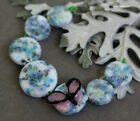 Lampwork beads with butterfly set of coin blue pink glass round lampwork beads