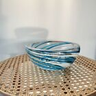 blue and clear art glass bowl With swirl details