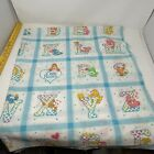 Vtg 1980s Care Bear ABCs Thin Cotton Fabric For Sew Craft Or Quilt 45x51