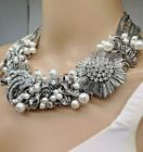 White House Black Market stunning crystal pearl layered necklace NWTS