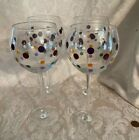 PAMPERED CHEF Polka Dots Set of 4 Wine Balloon Glass Goblets 85 Tall