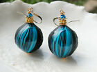 Blue Sculpted Round Murano Blown Glass Earrings