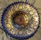 Dugan Fanciful carnival glass blue iridescent plate or low bowl