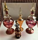 4 Vintage EGYPTIAN HAND BLOWN GLASS PERFUME BOTTLES W GOLD FLORAL CUTTING