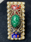 ollipop USA brass adjustable ring w green red blue glass faux pearls size 7