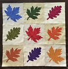 Lot of 9 fabric fall autumn maple leaves 9 inch applique quilt top blocks