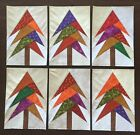 6 Paper Pieced fall autumn trees cotton fabric quilt top blocks full size 6x9
