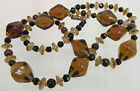 Vintage Art Glass Beaded Necklace Root Beer Brown  Black with Swirl Spacers
