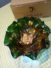 Fenton Glass Butterfly and Tulip Green Carnival Glass Bowl Large 187 500 MIB