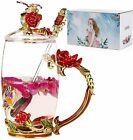 Glass Tea Cup with Lid 12OZ Red Rose Hand Made Enamel Flower