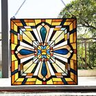 20 x 20 Crossroads Mission Tiffany Style Stained Glass Window Panel
