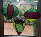 Set of 3 Handmade Artisan Stained Glass Christmas Ornaments 3