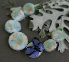 Lampwork beads with butterfly set of coin pastel glass round lampwork beads