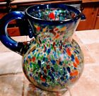 Confetti Mexican Art Glass Pitcher Blue Rim Yellow Red Orange Blue Pitcher only