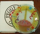 PEGGY KARR 87 FUSED ART GLASS BIRTHDAY CUPCAKE SMALL PLATE 55 + BOX  PAPER