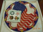 PEGGY KARR SIGNED ETCHED 2001 FUSED ART GLASS 11 FLAG PLATE W BOX  PAPERS