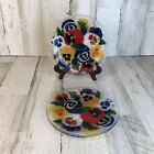 2 Peggy Karr Glass Plates Pansy 7 3 4 Fused Glass Plate Signed EUC