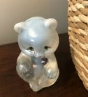 FENTON OPALESCENT IRIDESCENT HAND PAINTED FEBRUARY BEAR GLASS FIGURINE SIGNED