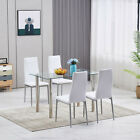5 Piece Kitchen Dining Table Set 4 PU Leather Chair Wood Tempered Glass Table