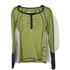 lululemon henley Long Sleeve Striped Top Size 4 Lime Green And Grey Womens