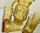 Daisy Rain Amber Anchor Hocking Pitcher and 4 Glasses