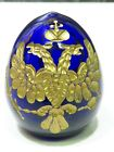 Russian Imperial Style Glass Egg Cobalt Blue Gold Double Headed Eagle Crown E 2