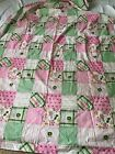 Discontinued John Deere Tractor Madras Pink Green Plaid Cotton Fabric 44 x 95