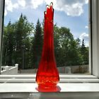 Stretch Swung Glass Vase Amberina Red Orange Yellow 14 Tall 8 Fingers