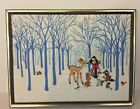 Vintage Completed  Framed Crewel Embroidery Woodland Animals Nativity Christmas