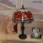 RED UNIQUE DRAGONFLY TIFFANY STYLE ART DECO STAINED GLASS TABLE DESK LAMP UK