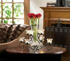 Glass Vase with Eight Glass Candle Holders in Center Stunning Scrollwork Candle