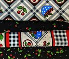Mary Engelbreit Fabric Lot Bowl of Cherries Cherry and Gingham Border Print OOP