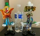 2 VINTAGE MURANO GLASS CLOWN FIGURINE AUTHENTIC HAND BLOWN ITILY APROX 9 in